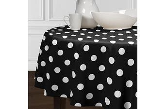A LuxeHome Black and White Modern Contemporary Large Polka DotTablecloths Dining Room Kitchen Round 180cm