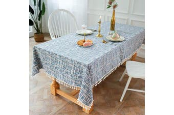 (140cm  x 300cm , White/Blue) - OstepDecor Tablecloth, Rectangle Table Cloth for 1.2m Table, Cotton Linen Tablecloths, Table Cover for Kitchen Dinning Room Party, Rectangle/Oblong, 140cm x 300cm , 10-12 Seats, Blue