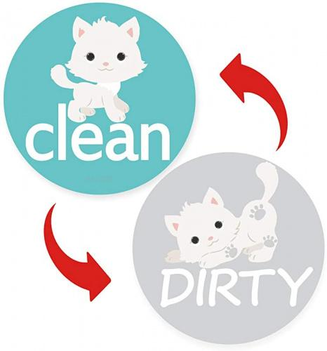 Clean Dirty Dishwasher Magnet Sign - Round Large Cute Dog Dishwasher Magnet Sign Waterproof And Double Sided Flip With Bonus Metal Plate,Funny Reversible Indicator Perfect For Home Kitchen Dishwasher Round Dishwasher Magnet Clean Dirty Sign