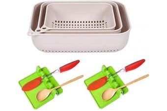 Set of 3 Kitchen Strainers Plastic, Vegetable Food Strainer, Spaghetti Pasta Multifunction Kitchen Drain Basin and Basket, Dishwasher Safe (Apricot)