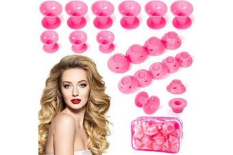 Diealles Shine Pink Silicone Hair Curlers Set, 40 Pieces Heatless Silicone Hair Curlers for DIY Styling Tools Hair Care Short Long Hair, 20 Large & 20 Small Silicone Curlers with Storage Bag