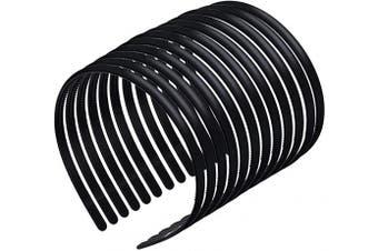 12 Pieces Plastic Plain Headbands Teeth Comb Headbands Skinny Plastic Headbands with Teeth DIY Hair Bands for Women Girls, Rubber Black, 8 mm Wide