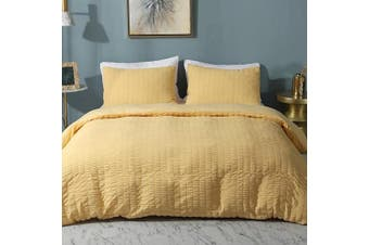 (Full/Queen(230cm  x 230cm ), Yellow) - AveLom Seersucker Stripe Duvet Cover, 3 Pieces Zipper Closure Corner Ties Soft Washed Microfiber Duvet Cover for Men, Women (Yellow, Queen)