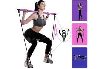 (Rose Red) - goldflower Adjustable Pilates Stick with Resistance Bands, Yoga Resistance Bar for Legs and Butt, Portable Exercise Equipment for Home Gym - 3 Colours