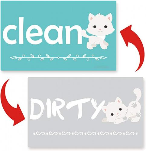 Clean Dirty Dishwasher Magnet Sign - Cute Dog Dishwasher Magnet Reversible Indicator Waterproof And Double Sided Flip With Bonus Metal Magnetic Plate, Funny Sign Perfect For Home Kitchen Dishwasher Dishwasher Magnet Clean Dirty Sign