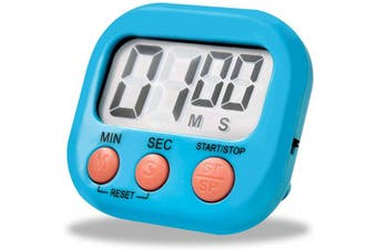 Techsea Kitchen Timer, Digital Kitchen Timer with Loud Alarm, Big Digits, Magnetic Backing, Retractable Stand for Cooking Baking Workout Sports Games (Blue)