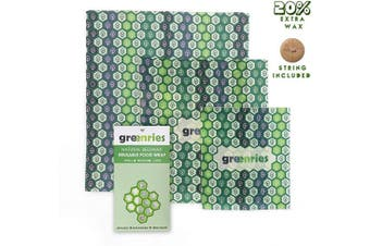 Greenries – Beeswax Food Wrap – Assorted Set of 3 – No Synthetic Wax or Chemicals – Holds for Up to a Year – Sustainable and Reusable Beeswax Food Wraps with Jojoba Oil – 3 Sizes (S, M, L)