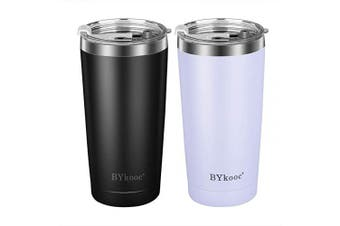 590ml Tumbler with lid,BYkooc Stainless Steel Travel Coffee Mug and Straw,Vacuum Insulated Tumbler Cup,Double Wall Coffee Tumbler for Home,Office(Black + White)