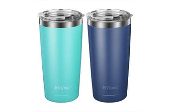 590ml Tumbler with lid,BYkooc Stainless Steel Travel Coffee Mug and Straw,Vacuum Insulated Tumbler Cup,Double Wall Coffee Tumbler for Home,Office(Navy Blue + Mint Green)