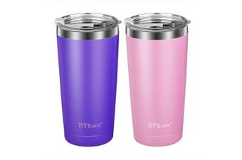 590ml Tumbler with lid,BYkooc Stainless Steel Travel Coffee Mug and Straw,Vacuum Insulated Tumbler Cup,Double Wall Coffee Tumbler for Home,Office(Purple + Pink)