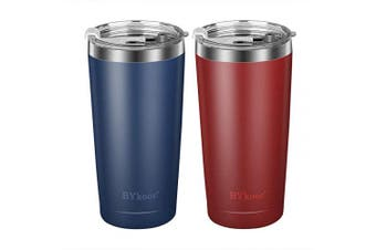 590ml Tumbler with lid,BYkooc Stainless Steel Travel Coffee Mug and Straw,Vacuum Insulated Tumbler Cup,Double Wall Coffee Tumbler for Home,Office(Navy Blue + Red)