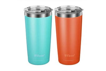 590ml Tumbler with lid,BYkooc Stainless Steel Travel Coffee Mug and Straw,Vacuum Insulated Tumbler Cup,Double Wall Coffee Tumbler for Home,Office(Green + Orange)