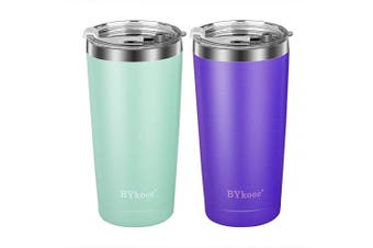 590ml Tumbler with lid,BYkooc Stainless Steel Travel Coffee Mug and Straw,Vacuum Insulated Tumbler Cup,Double Wall Coffee Tumbler for Home,Office(Lavender + Cyan)