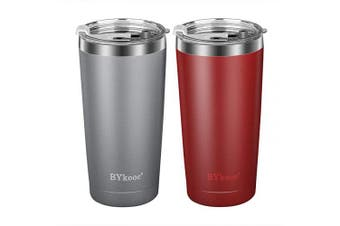 590ml Tumbler with lid,BYkooc Stainless Steel Travel Coffee Mug and Straw,Vacuum Insulated Tumbler Cup,Double Wall Coffee Tumbler for Home,Office(Grey + Red)