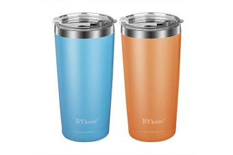 590ml Tumbler with lid,BYkooc Stainless Steel Travel Coffee Mug and Straw,Vacuum Insulated Tumbler Cup,Double Wall Coffee Tumbler for Home,Office(Blue + Coral Orange)