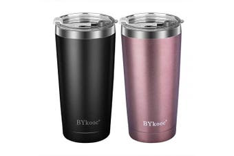 590ml Tumbler with lid,BYkooc Stainless Steel Travel Coffee Mug and Straw,Vacuum Insulated Tumbler Cup,Double Wall Coffee Tumbler for Home,Office(Black + Rose Gold)