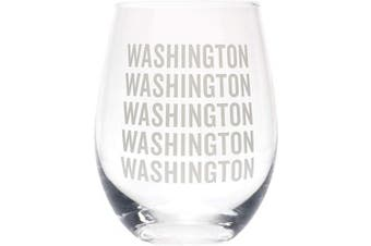 (Washington Grey) - Washington Repeating Grey 470ml Glass Wine Tumbler