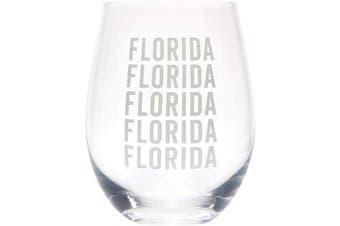 (Florida Grey) - Florida Repeating Grey 470ml Glass Wine Tumbler