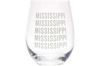 (Mississippi Grey) - Mississippi Repeating Grey 470ml Glass Wine Tumbler