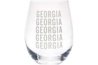 (Georgia Grey) - Georgia Repeating Grey 470ml Glass Wine Tumbler