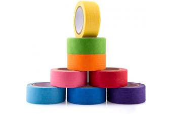 AIEX 2.5cm Wide 8 Rolls Coloured Tape Rainbow Tape Masking Tape Set Writable for Craft, DIY, Colour Coded, 8 Assorted Colours