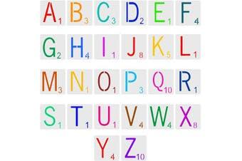 52 PCS Tile Stencil Letters, 13cm x 13cm Large Letter Stencils, Scrabble Letters Stencil, Wall Decor Stencils for Painting DIY Projects, Home Décor