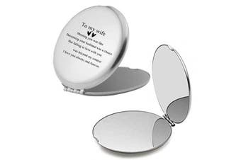 Makeup Mirrors for Wife Sentiment Motivational Engraved Compact Pocket Travel Mirrors for Women,Thoughtful Christmas Valentines day Birthday Gifts for Wife from Husband