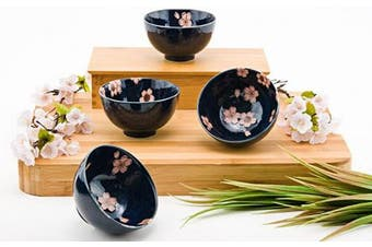 Japanese Traditional Ceramic Rice Bowl Set of 4 Pink Cherry Blossom Sakura Imported From Japan