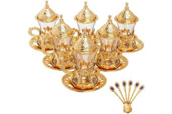 Alisveristime (Set of 6 Handmade Turkish Tea Water Zamzam Serving Set Glasses Saucer and Spoon (Gold)