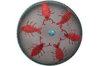 Creative Co-op Metal Screen Embroidered Lobster Food Cover, Red