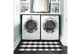 (50cm  x 120cm , A01) - Abreeze Black & White Buffalo Cheque Rug for Laundry Room Nonslip Rubber Backer Mat Floor Runner Durable Carpet Waterproof Kitchen Mats 50cm x 120cm , 1pc