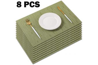 PABUSIOR Placemat,Woven Vinyl Placemats for Dining Table Washable,Easy to Clean Non-Slip Place Mats for Kitchen Table Set of 8 Wipeable (30cm X 46cm Olive Green)