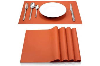 (Orange) - IYYI Silicone Placemats,Placemats for Kids,Placemats Set of 4 Waterproof Heat Resistant Non-Slip Kitchen Table Mats for Dining Table, Easy to Clean (Orange)