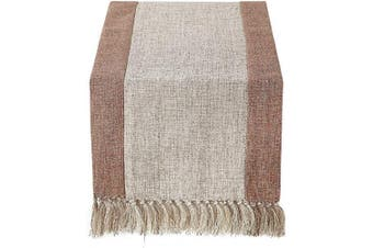 (38cm  x 270cm , Burlap Beige) - 38cm x 270cm Rustic Woven Table Runner with Handmade Fringe, Buffalo Cheques Burlap Dining Table Runners for Family Dinner, Farmhouse Decorations - Beige