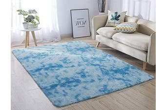 (1.6m x 2.2m, Blue &) - ACTCUT Super Soft Indoor Modern Shag Area Silky Smooth Rugs Fluffy Anti-Skid Shaggy Area Rug Dining Living Room Carpet Comfy Bedroom Floor (1.6m x 2.2m, Blue & )