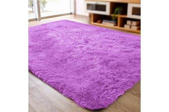 (0.6m x 0.9m, Purple) - ACTCUT Super Soft Indoor Modern Shag Area Silky Smooth Rugs Fluffy Anti-Skid Shaggy Area Rug Dining Living Room Carpet (0.6m x 0.9m, Purple)