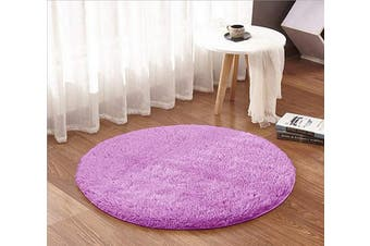 (1.2m Round, Purple) - ACTCUT Super Soft Indoor Modern Shag Area Silky Smooth Rugs Fluffy Anti-Skid Shaggy Area Rug Dining Living Room Carpet (1.2m Round, Purple)