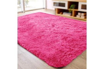 (0.6m x 0.9m, Hot Pink) - ACTCUT Super Soft Indoor Modern Shag Area Silky Smooth Rugs Fluffy Anti-Skid Shaggy Area Rug Dining Living Room Carpet (0.6m x 0.9m, Hot Pink)