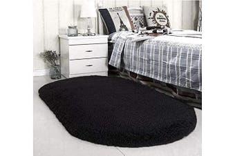 (0.8m x 1.5m, Black) - ACTCUT Super Soft Indoor Modern Shag Area Silky Smooth Rugs Fluffy Anti-Skid Shaggy Area Rug Dining Living Room Carpet Comfy Bedroom Floor (0.8mx 1.5m, Black)