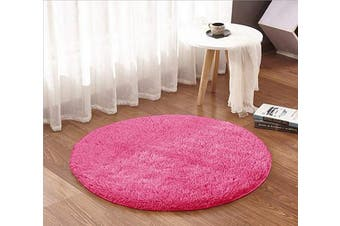 (1.2m Round, Hot Pink) - ACTCUT Super Soft Indoor Modern Shag Area Silky Smooth Rugs Fluffy Anti-Skid Shaggy Area Rug Dining Living Room Carpet (1.2m Round, Hot Pink)