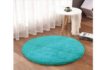 (1.2m Round, Blue) - ACTCUT Super Soft Indoor Modern Shag Area Silky Smooth Rugs Fluffy Anti-Skid Shaggy Area Rug Dining Living Room Carpet (1.2m Round, Blue)