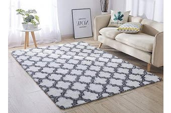 (1.2m x 1.5m, White Trellis) - ACTCUT Super Soft Indoor Modern Shag Area Silky Smooth Rugs Fluffy Anti-Skid Shaggy Area Rug Dining Living Room Carpet Comfy Bedroom Floor 4- Feet by 5- Feet (WhiteTrellis)