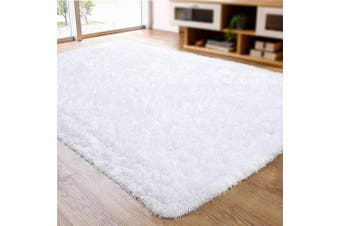 (0.6m x 0.9m, White) - ACTCUT Super Soft Indoor Modern Shag Area Silky Smooth Rugs Fluffy Anti-Skid Shaggy Area Rug Dining Living Room Carpet (0.6m x 0.9m, White)