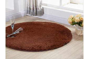 (1.2m Round, Coffee) - ACTCUT Super Soft Indoor Modern Shag Area Silky Smooth Rugs Fluffy Anti-Skid Shaggy Area Rug Dining Living Room Carpet (1.2m Round, Coffee)