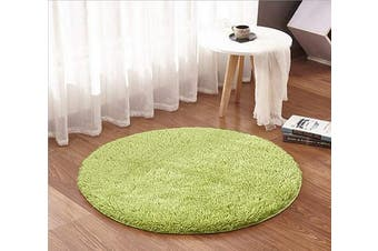 (1.2m Round, Green) - ACTCUT Super Soft Indoor Modern Shag Area Silky Smooth Rugs Fluffy Anti-Skid Shaggy Area Rug Dining Living Room Carpet (1.2m Round, Green)