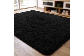 (0.6m x 0.9m, Black) - ACTCUT Super Soft Indoor Modern Shag Area Silky Smooth Rugs Fluffy Anti-Skid Shaggy Area Rug Dining Living Room Carpet (0.6m x 0.9m, Black)