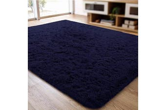 (0.6m x 0.9m, Navy) - ACTCUT Super Soft Indoor Modern Shag Area Silky Smooth Rugs Fluffy Anti-Skid Shaggy Area Rug Dining Living Room Carpet (0.6m x 0.9m, Navy)