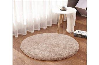 (1.2m Round, Khaki) - ACTCUT Super Soft Indoor Modern Shag Area Silky Smooth Rugs Fluffy Anti-Skid Shaggy Area Rug Dining Living Room Carpet (1.2m Round, Khaki)
