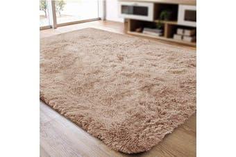(0.6m x 0.9m, Khaki) - ACTCUT Super Soft Indoor Modern Shag Area Silky Smooth Rugs Fluffy Anti-Skid Shaggy Area Rug Dining Living Room Carpet (0.6m x 0.9m, Khaki)