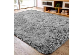 (0.6m x 0.9m, Grey) - ACTCUT Super Soft Indoor Modern Shag Area Silky Smooth Rugs Fluffy Anti-Skid Shaggy Area Rug Dining Living Room Carpet (0.6m x 0.9m, Grey)